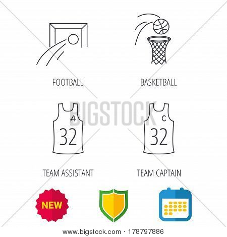 Football, basketball and team captain icons. Team assistant linear sign. Shield protection, calendar and new tag web icons. Vector