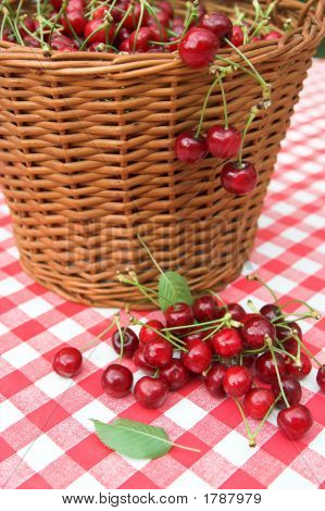 Red Picnic Cloth With Yummy Cherry