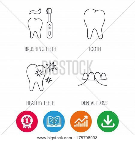 Dental floss, tooth and healthy teeth icons. Brushing teeth linear sign. Award medal, growth chart and opened book web icons. Download arrow. Vector