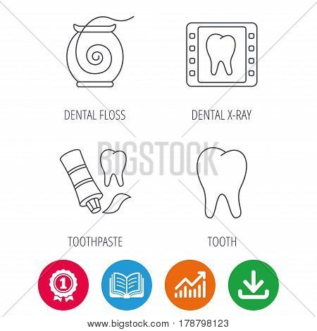 Dental floss, tooth and toothpaste icons. Dental X-ray linear sign. Award medal, growth chart and opened book web icons. Download arrow. Vector