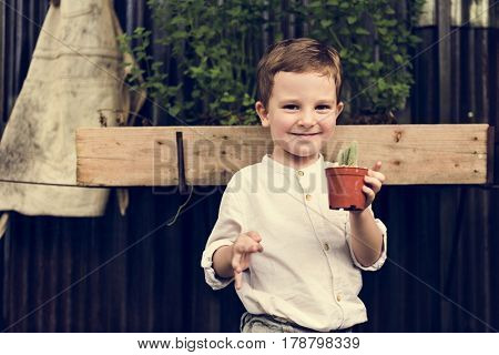 Child Boy Agriculture Nature Cactus