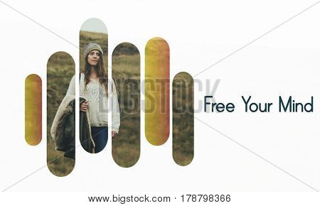Free yourself phrase text people outdoors