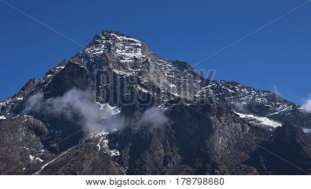 Khumbi Yul lha sacred mountain in the Mount Everest National Park Nepal.