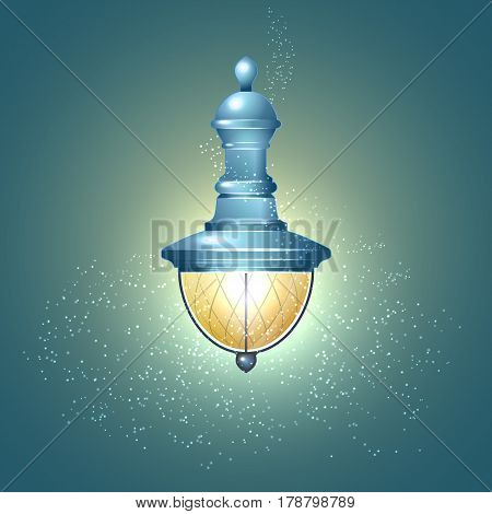 Vintage city lights on blue background vector illustration