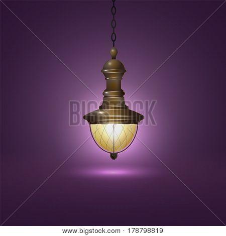 Vintage lantern on a chain on purple background vector illustration