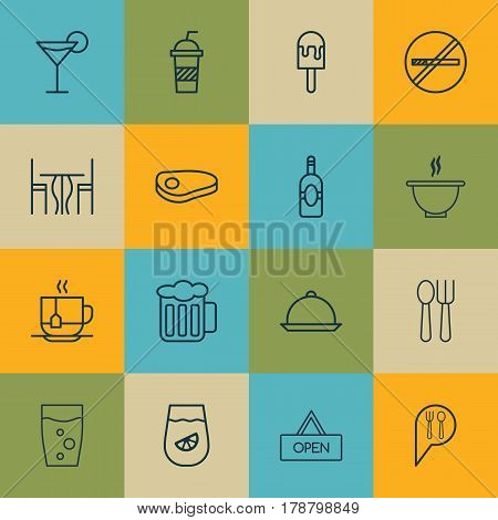 Set Of 16 Food Icons. Includes Soda Drink, Hot Drink, Soda And Other Symbols. Beautiful Design Elements.