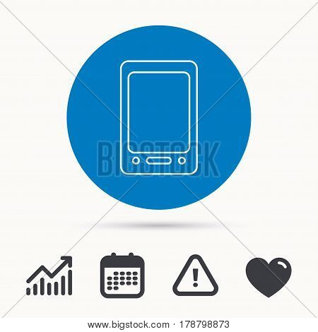 Tablet PC icon. Touchscreen pad sign. Calendar, attention sign and growth chart. Button with web icon. Vector