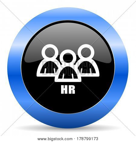 HR black and blue web design round internet icon with shadow on white background.