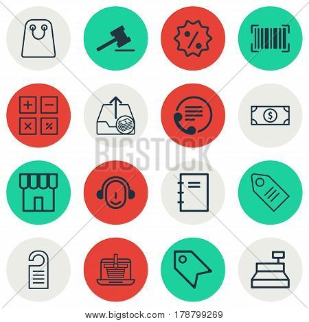 Set Of 16 Ecommerce Icons. Includes Ticket, Till, Gavel And Other Symbols. Beautiful Design Elements.