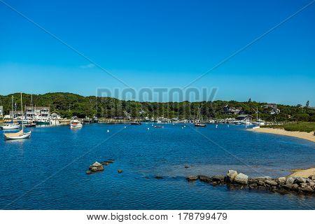 A view of Oak Bluffs Harbor on Martha's Vineyard Massachusetts from Vineyard Sound.