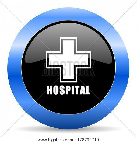 Hospital black and blue web design round internet icon with shadow on white background.