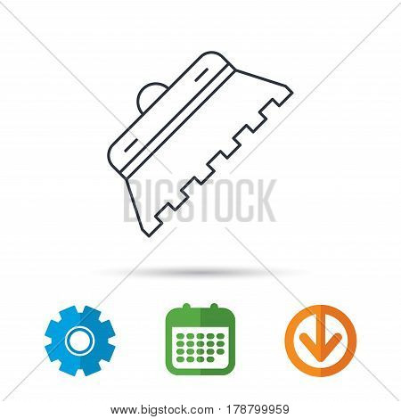 Trowel for tile icon. Spatula repair tool sign. Calendar, cogwheel and download arrow signs. Colored flat web icons. Vector