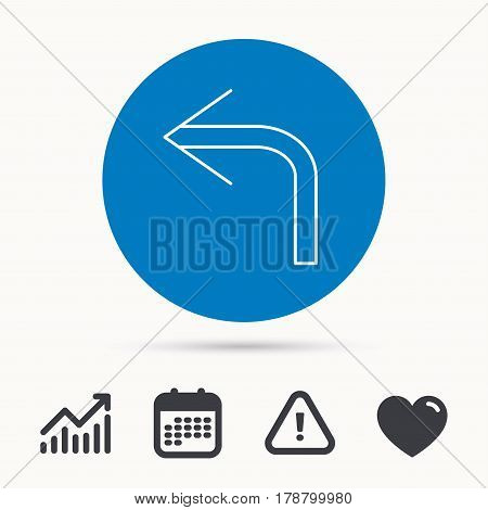 Turn left arrow icon. Previous sign. Back direction symbol. Calendar, attention sign and growth chart. Button with web icon. Vector