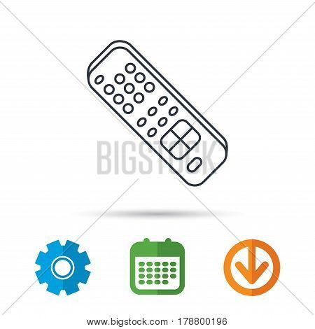 Remote control icon. TV switching channels sign. Calendar, cogwheel and download arrow signs. Colored flat web icons. Vector