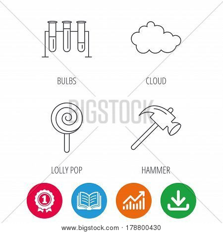 Hammer, lab bulbs and weather cloud icons. Lolly pop linear sign. Award medal, growth chart and opened book web icons. Download arrow. Vector