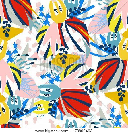 Abstract floral elements paper collage.Vector illustration hand drawn.Sketch ready for contemporary scandinavian flat design- poster, invitation, post card, t-shirt design.Seamless pattern.