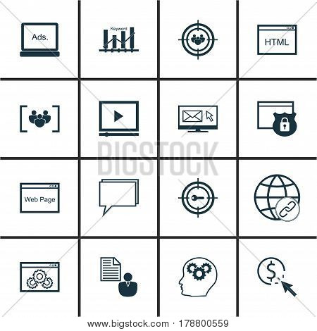 Set Of 16 SEO Icons. Includes Keyword Marketing, Web Page Performance, Focus Group And Other Symbols. Beautiful Design Elements.