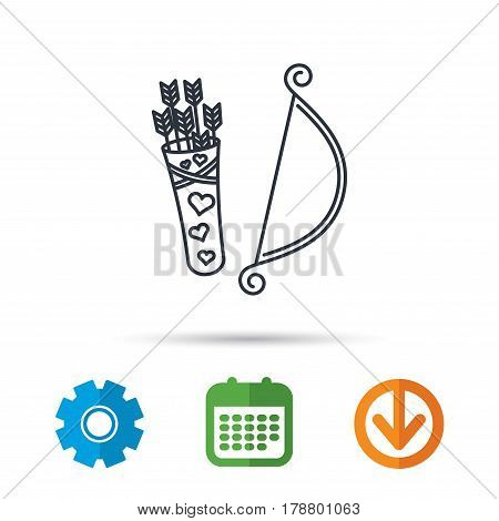 Amour arrows with bow icon. Cupid love symbol. Calendar, cogwheel and download arrow signs. Colored flat web icons. Vector
