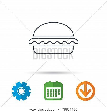 Vegetarian burger icon. Healthy fast food sign. Burger symbol. Calendar, cogwheel and download arrow signs. Colored flat web icons. Vector