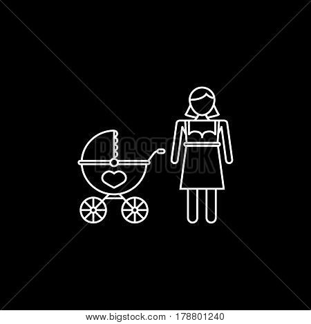 Woman with pram line icon, mother's day, mom with stroller vector graphics, a linear pattern on a black background, eps 10.