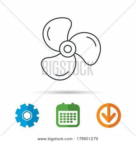 Ventilation icon. Fan or propeller sign. Calendar, cogwheel and download arrow signs. Colored flat web icons. Vector