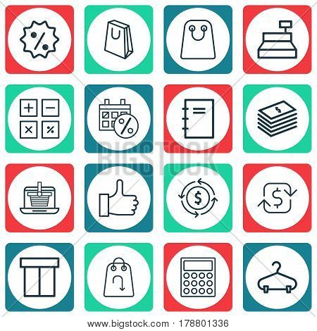 Set Of 16 Commerce Icons. Includes Spiral Notebook, E-Trade, Refund And Other Symbols. Beautiful Design Elements.