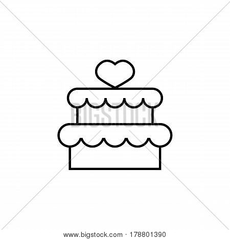 Cake with hearth line icon, mother's day, sweet vector graphics, a linear pattern on a white background, eps 10.