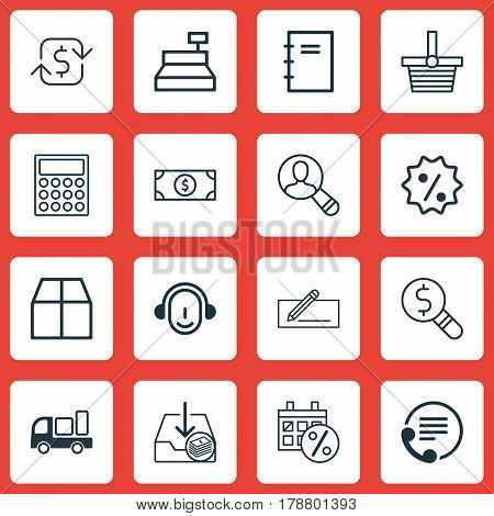 Set Of 16 E-Commerce Icons. Includes Spectator, Recurring Payements, Delivery And Other Symbols. Beautiful Design Elements.