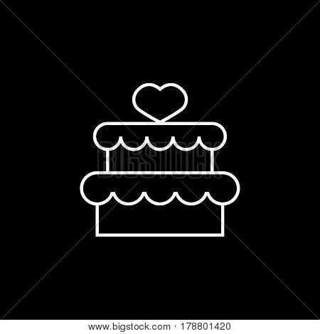 Cake with hearth line icon, mother's day, sweet vector graphics, a linear pattern on a black background, eps 10.
