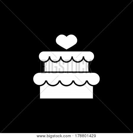 Cake with hearth solid icon, mother's day, sweet vector graphics, a filled pattern on a black background, eps 10.