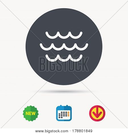 Wave icon. Water stream symbol. Calendar, download arrow and new tag signs. Colored flat web icons. Vector