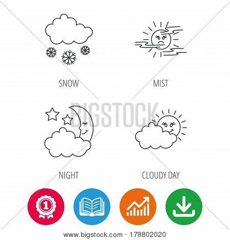 Weather, mist and snow icons. Moon night, clouds linear signs. Award medal, growth chart and opened book web icons. Download arrow. Vector