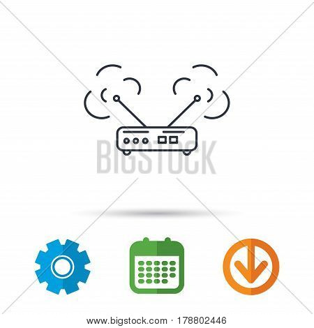 Wi-fi router icon. Wifi wireless internet sign. Device with antenna symbol. Calendar, cogwheel and download arrow signs. Colored flat web icons. Vector