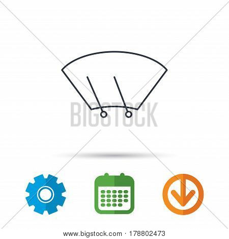 Windscreen wipers icon. Windshield sign. Calendar, cogwheel and download arrow signs. Colored flat web icons. Vector