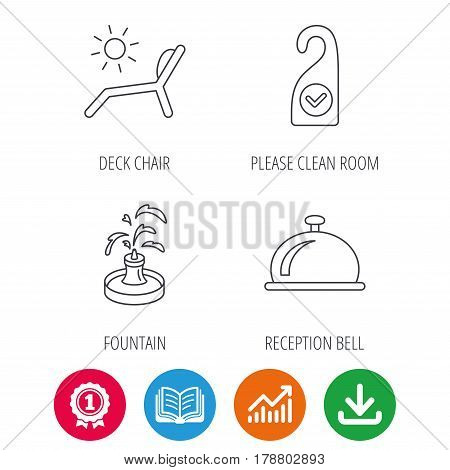 Reception bell, fountain and beach deck chair icons. Clean room linear sign. Award medal, growth chart and opened book web icons. Download arrow. Vector