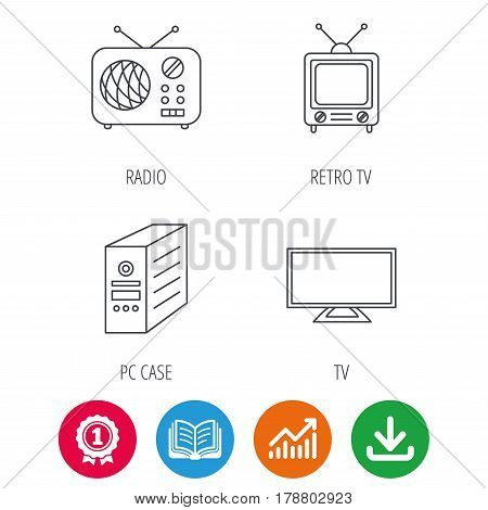 TV, PC case and retro radio icons. Retro TV linear sign. Award medal, growth chart and opened book web icons. Download arrow. Vector