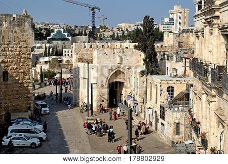 JERUSALEM ISRAEL - MARCH 25 2017: View from above of the Jaffa Gate in the old city of Jerusalem