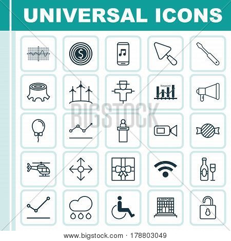 Set Of 25 Universal Editable Icons. Can Be Used For Web, Mobile And App Design. Includes Elements Such As Airfield Manufacture, Bugbear, Gift Surprise And More.