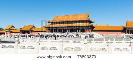 Beijing, China - September 29, 2016: Forbidden City  Imperial Palace Plateau With Many Tourists Visi