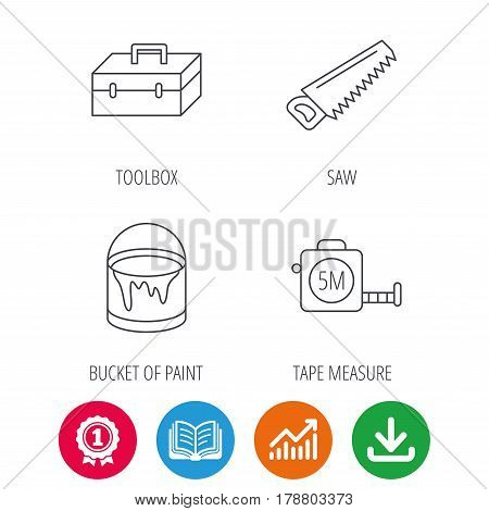 Saw, bucket of paint and tape measure icons. Toolbox linear sign. Award medal, growth chart and opened book web icons. Download arrow. Vector