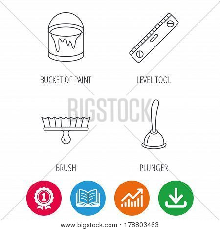 Level tool, plunger and brush tool icons. Bucket of paint linear sign. Award medal, growth chart and opened book web icons. Download arrow. Vector