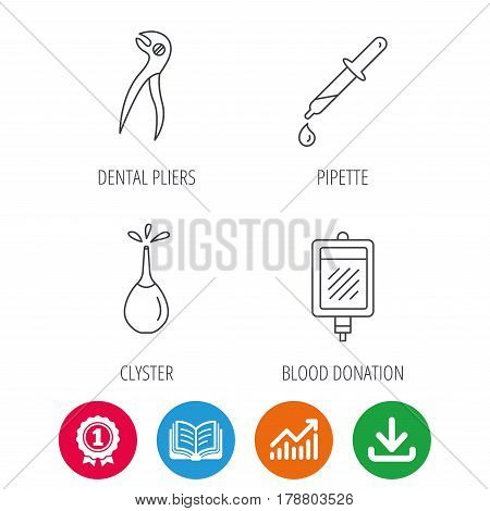 Blood donation, pipette and dental pliers icons. Clyster linear sign. Award medal, growth chart and opened book web icons. Download arrow. Vector