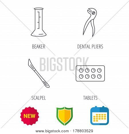 Lab beaker, tablets and dental pliers icons. Scalpel linear sign. Shield protection, calendar and new tag web icons. Vector