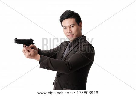 Killer with gun close up over white background with copyspace.