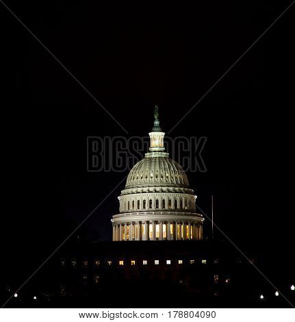 The US Capitol Dome light up at night