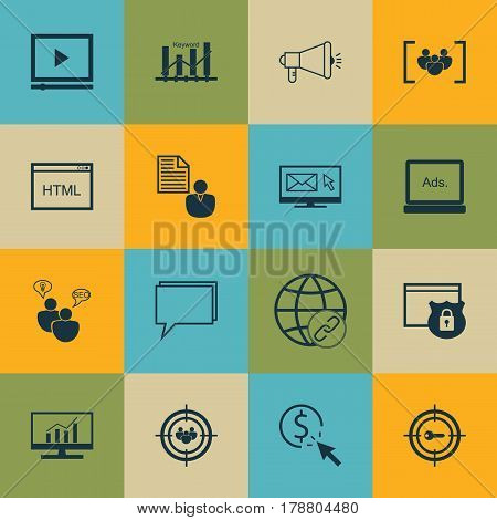 Set Of 16 Advertising Icons. Includes Keyword Marketing, Market Research, Report And Other Symbols. Beautiful Design Elements.