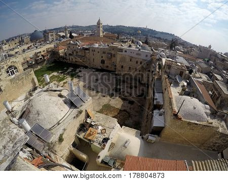 JERUSALEM ISRAEL - MARCH 25 2017: View from roof on the pool of Hezekiahu in the old city of Jerusalem