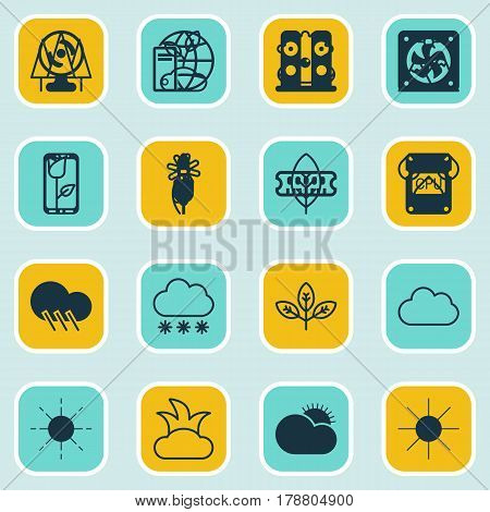 Set Of 16 Harmony Icons. Includes Sunny Weather, Snowstorm, Sprout And Other Symbols. Beautiful Design Elements.