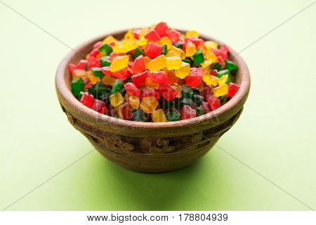 Sweet Fruit Candy Also Know As tutti-frutti, Candied Fruits served in a bowl used in masala pan in india or in cakes or sweets