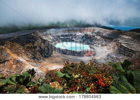 Main active crater of the volcano of Poas. Costa Rica of Poas. Costa Rica
